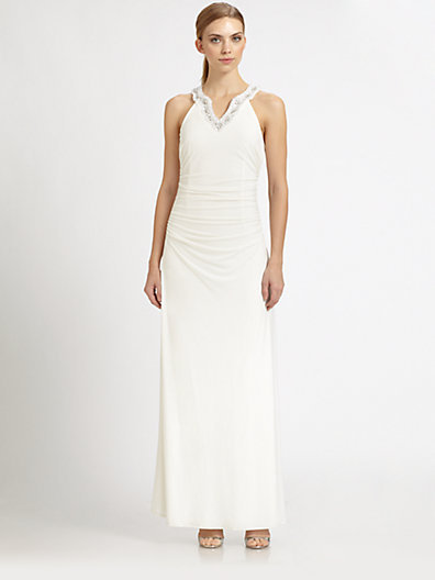Laundry by Shelli Segal Beaded Knit Gown
