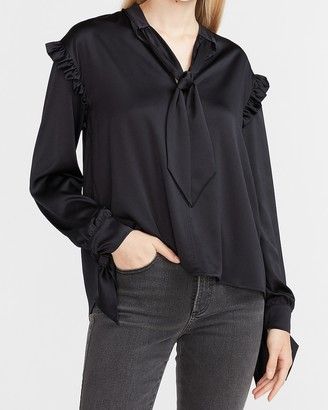 Express Satin Ruffle Tie Neck Top