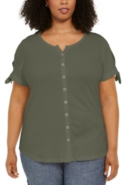 Karen Scott Plus Size Tie-Sleeve Button-Up Top, Created for Macy's