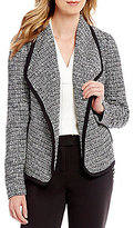 Calvin Klein Open Drape Front Tweed Jacket