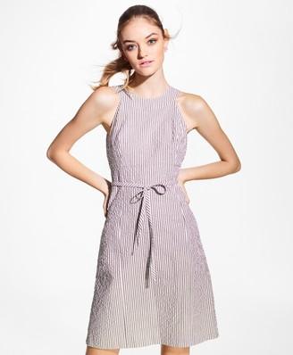 Brooks Brothers Stretch-Cotton Seersucker Dress