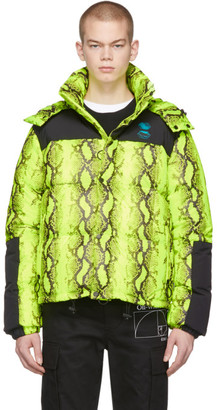 Off-White Yellow and Black Down Snake Puffer Jacket