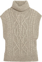 Isabel Marant Grant Cable-knit Alpaca-blend Sweater - Light gray