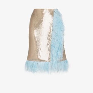 Christopher Kane Chain mail feather trim wrap skirt