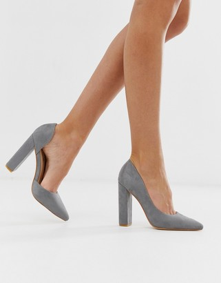 Public Desire Prinny grey suede block heeled shoes