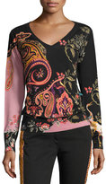 Etro Floral Paisley Silk-Cashmere V-Neck Sweater, Black