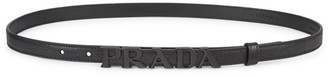 Prada Monochrome Logo Slim Leather Belt