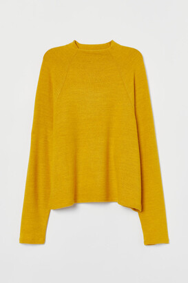 H&M Stand-up-collar Top - Yellow