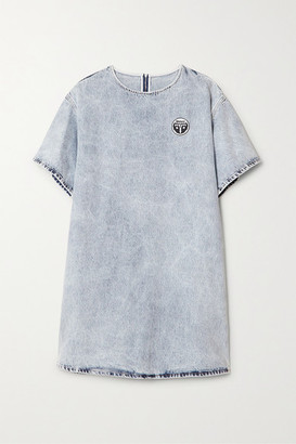 MM6 MAISON MARGIELA Appliqued Acid-wash Denim Mini Dress - Light denim
