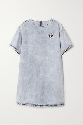 MM6 MAISON MARGIELA Appliqued Acid-wash Denim Mini Dress - Light denim