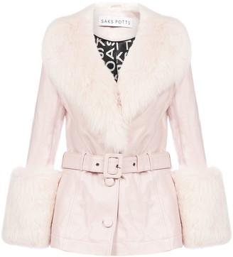 Saks Potts Fox-fur Trimmed Lambskin Short Coat