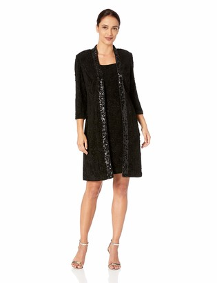 Alex Evenings Women's Petite Elongated Jacquard Jacket Dress with Sequin Trim