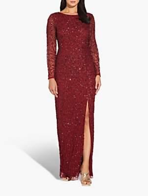 Adrianna Papell Beaded Split Maxi Dress, Cranberry