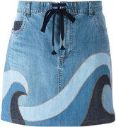 RED Valentino printed denim skirt - women - Cotton/Polyester/Spandex/Elastane - 40