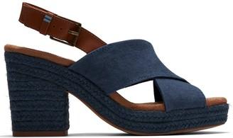 Toms Ibiza Pearlized Chunky Heeled Sandal - Blue