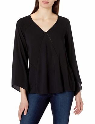 James & Erin Women's Bell Sleeve V-Neck Top with Stitch Detail