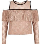 River Island Womens Blush Pink cold shoulder deep frill top