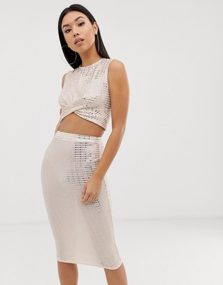 Club L London sparkle crop top co-ord in mink