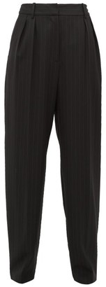 Nili Lotan Linda Pinstriped Wool-blend Tapered Trousers - Black White