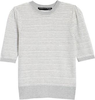 Veronica Beard Montgomery Short Sleeve Stripe Sweater