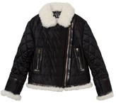 Burberry Black Quilted Shearling and Leather Trim Coat