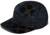 Gucci GG Velvet Baseball Cap - Womens - Blue