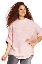 Lands' End Women's Plus Size Wool Blend 3/4 Sleeve Funnel Neck Sweater-Silver Pink Heather Marl