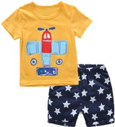 MingAo Boys Short and T-shirts Set 2 Peice Cotton Casual Clothing Sets Cartoon Airplane Age
