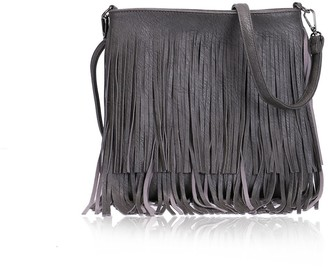 The Olive House Womens Fringe Cross Body Leather Look Handbag Grey