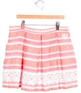 Miss Blumarine Girls' Striped Eyelet-Paneled Skirt