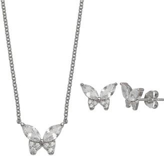 Primrose PRIMROSE Sterling Silver Cubic Zirconia Butterfly Necklace & Stud Earring Set