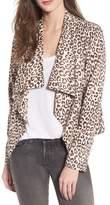 BB Dakota Aleah Leopard Print Faux Suede Drape Front Jacket