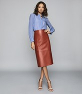 Reiss Sophia - Leather Pencil Skirt in Red