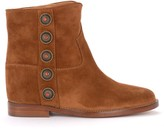Via Roma 15 Ankle Boots In Leather Suede With Gold Metal Side Buttons