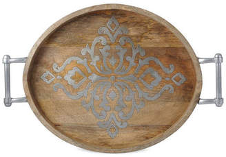 GG Collection The Large 25.5-Inch Long Wood and Metal Heritage Collection Oval Tray