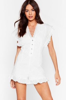 Nasty Gal Womens Frill the Same Broderie Anglaise Button-Down Romper - White