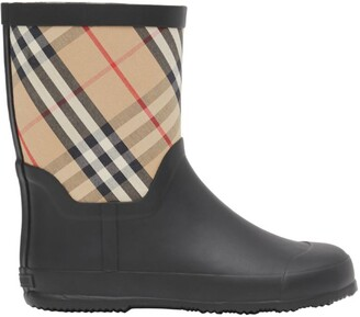 Burberry Kids House Check Rubber Rain Boots