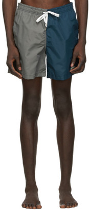 Bather Grey and Navy Solid Swim Shorts