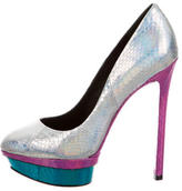 Brian Atwood Metallic Embossed Platform Pumps