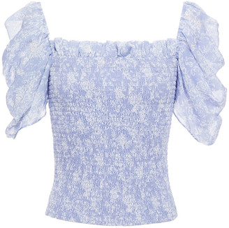 Caroline Constas Arina Shirred Floral-print Chiffon Top