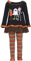 Rare Editions Baby Girls Owl Ghost Skeleton Halloween Pant Set 6M