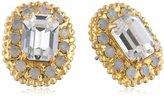 """Sorrelli Crystal Clear"""" Small Emerald Cut Crystal Stud Earrings with Rhinestone Edging"""