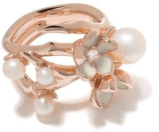 Shaun Leane Cherry Blossom diamond and pearl flower ring