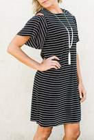 London Times Stripe Cold Shoulder Dress