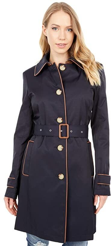 Lauren Ralph Lauren Single Breasted Rain Coat with Faux Leather Trim Women's Coat