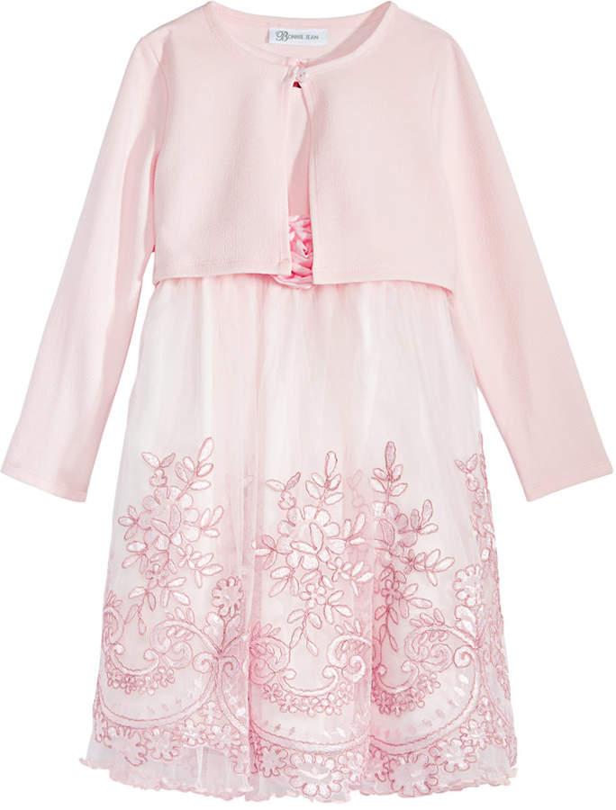 Bonnie Jean Little Girls 2-Pc. Cardigan & Embroidered Dress Set