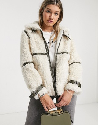 Topshop borg coat with leather buckles in cream