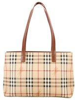 Burberry Leather-Accented Haymarket Check Tote