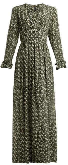 A.P.C. Sina Printed Silk Crepe Maxi Dress - Womens - Green Multi
