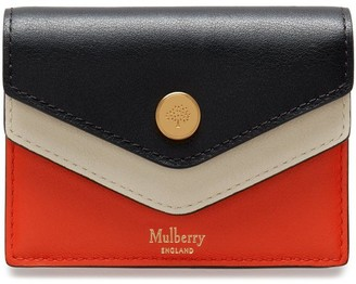 Mulberry Multiflap Card Holder Coral Orange, Chalk and Black Multi-Colour Silky Calf